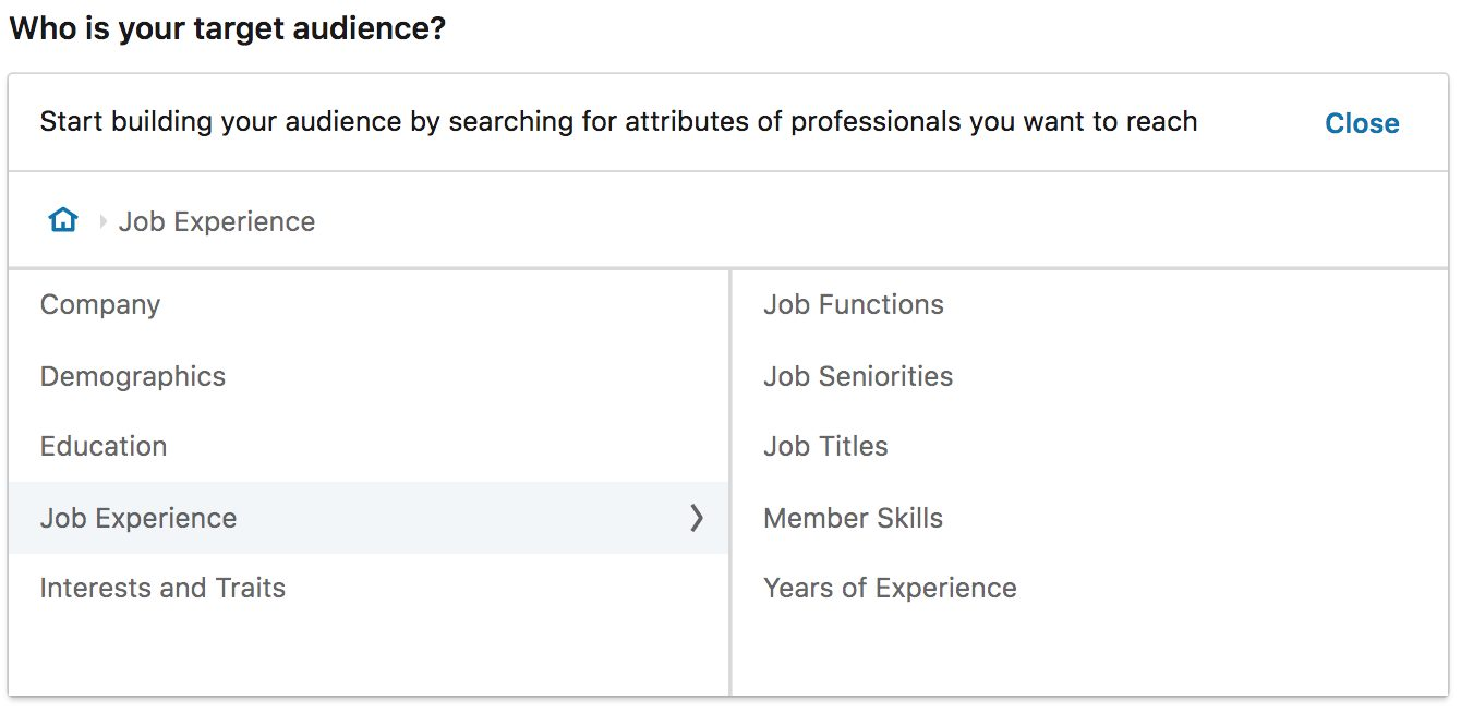 LinkedIn audience targeting by job experience