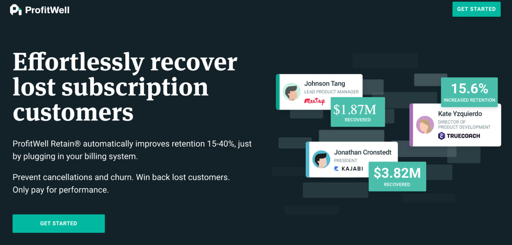Landing page example from ProfitWell