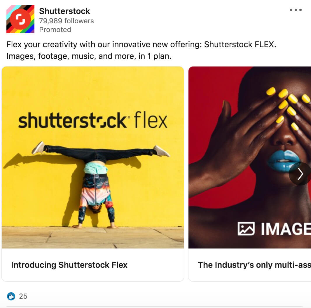 Carousel LinkedIn ad example from Shutterstock