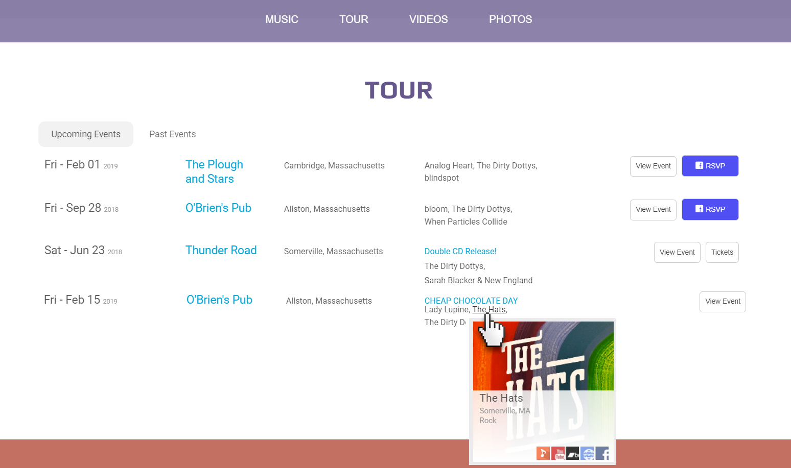 Embed your events on your website with a sleek modern layout