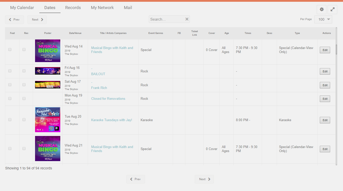 New List/Spreadsheet View on Dashboard for Your Upcoming Events