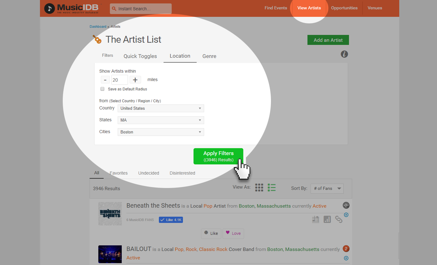 Artist List Search
