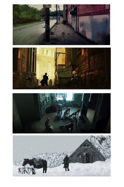 Sceneries, backgrounds.