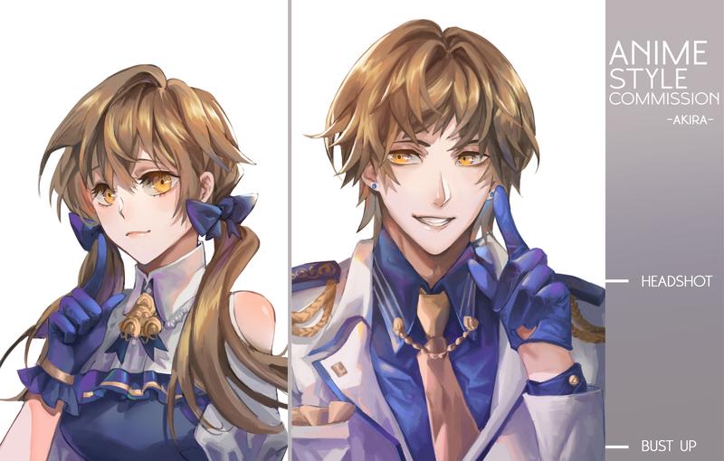 Anime Style Headshot Icon/ Bust up