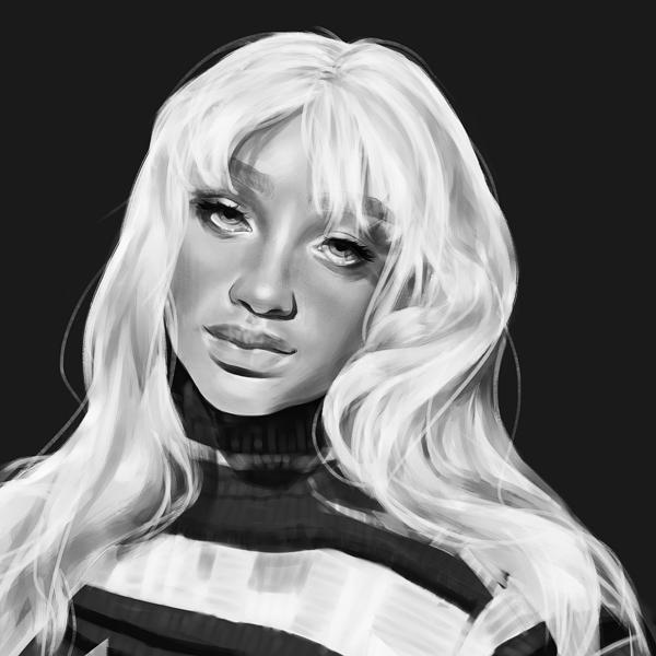 Black/white realistic portrait