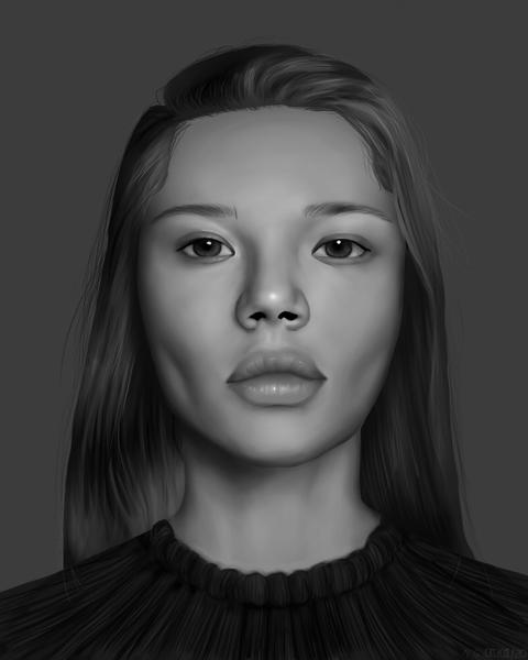 Black 'n white portrait painting