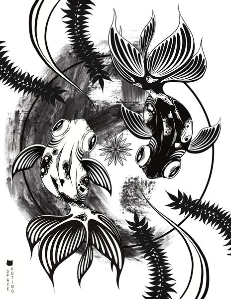Whimsical Black and White Illustrations
