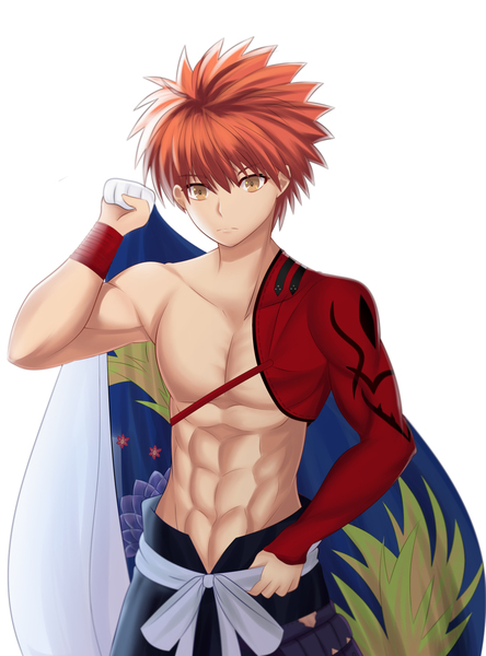 Colored Half Body Shirtless Anime Boy