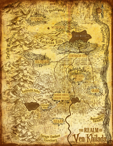Tolkien style fantasy map (full color, custom glyphs/multi continent)