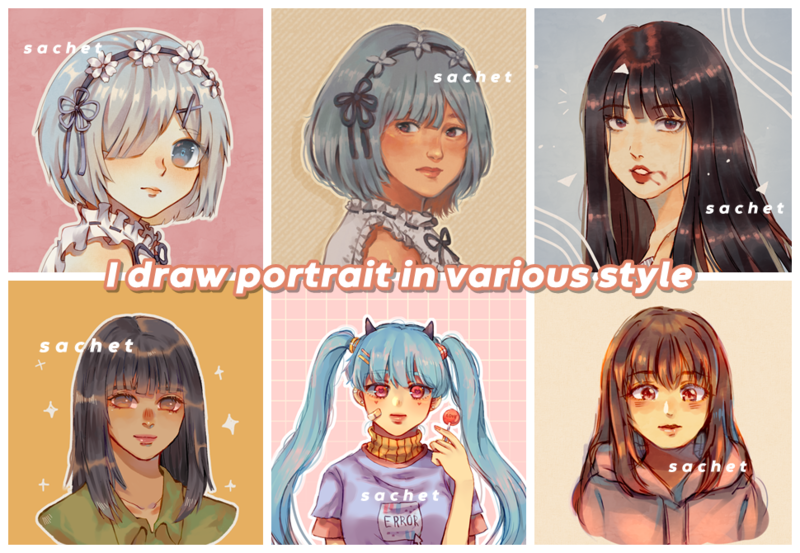 Colored Portrait in Various Styles