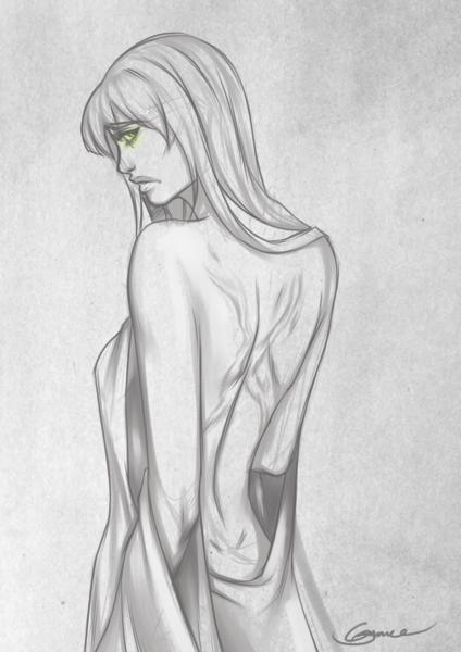 Black and White Sketch Half Body