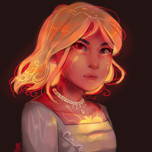 Colored Digital painted bust