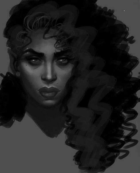 Black and white portrait bust