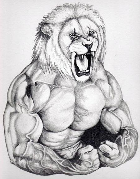 Pencil Portrait Lion Man