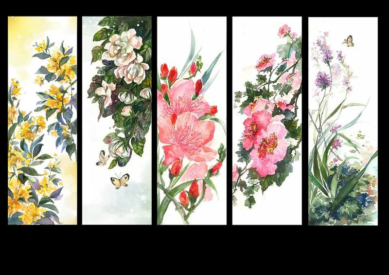 I will draw the flowers with my traditional watercolor style