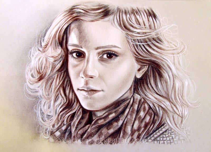 Chalk Portrait on Gray Paper