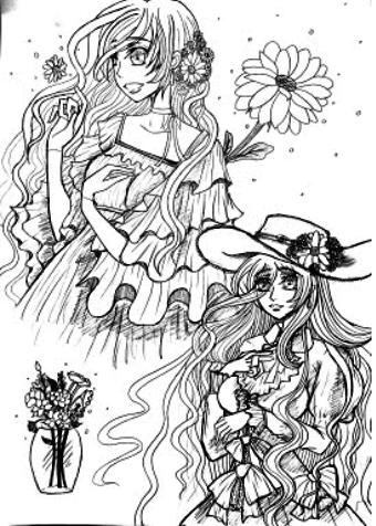 Shoujo-Manga Hand-Drawn Style