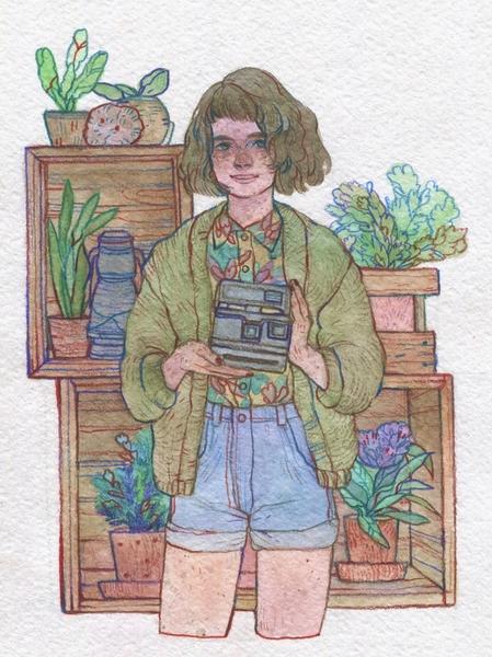 Watercolor Half-body Illustration