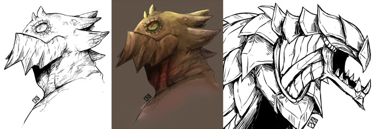 Creature/Monster bust to waist-up
