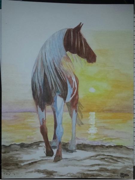 Colored, nature, watercolor