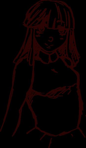 Anime sketch half body