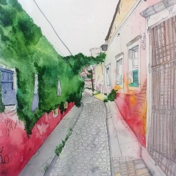 Watercolor landscape ink details