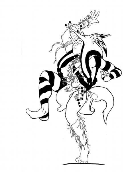 Full Body, Black and White, Line Drawing
