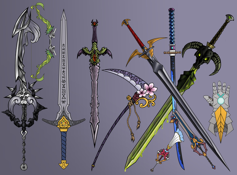 Colored weapons/equipment of any kind