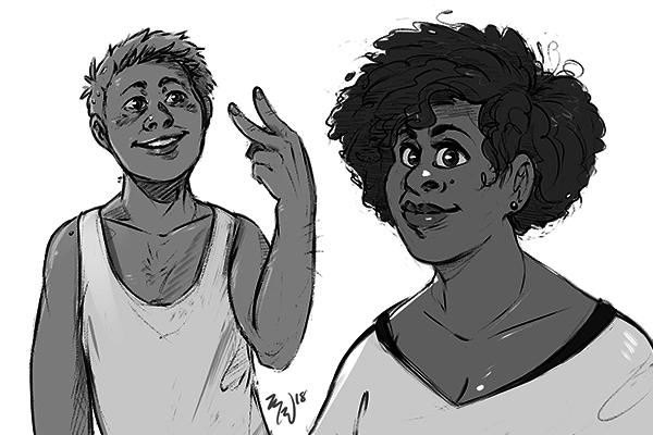 Character Bust : Line Art + Flats