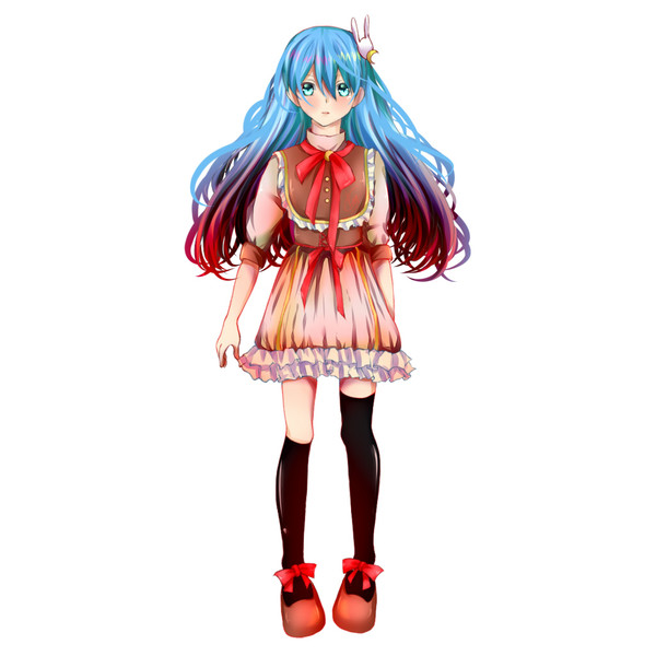Colored Girl Loli Moe Anime Full Body
