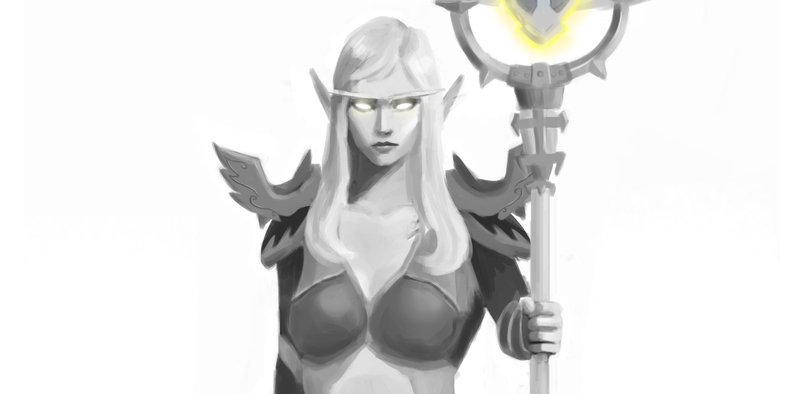 Bust Up B&W Sketch Painting