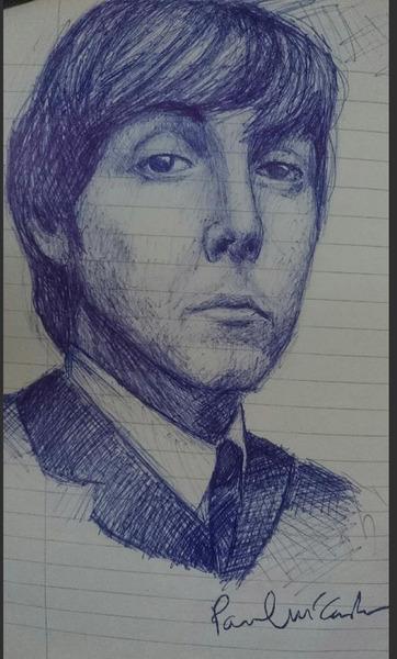 Paul McCartney ballpoint pen drawing