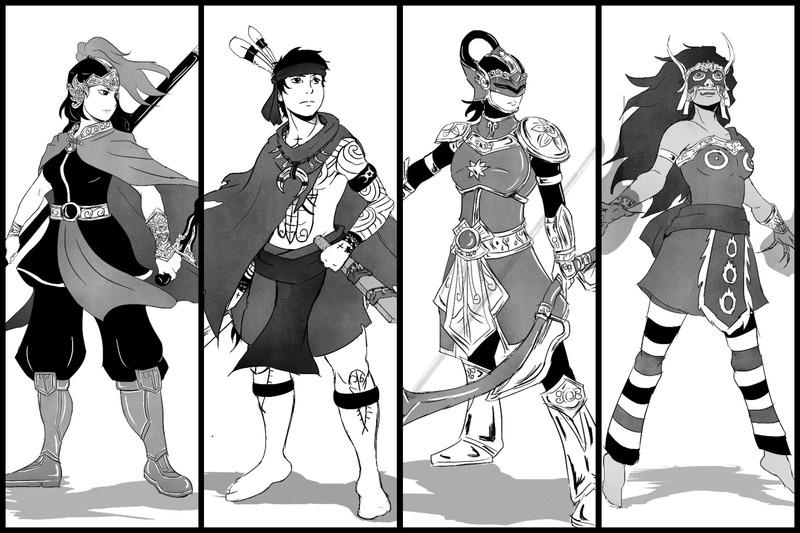 Black and White Full Body Character Design