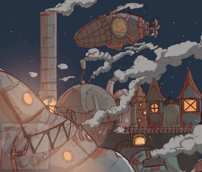 colored sketch steampunk