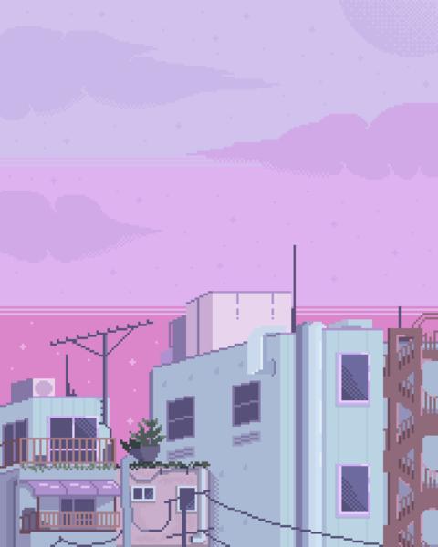 City/Urban Pixel Art Background