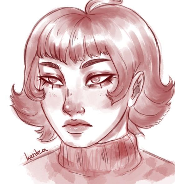 bust up sketch portrait