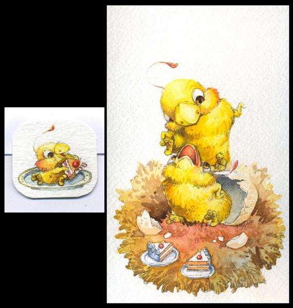 Cartoony watercolour illustrations