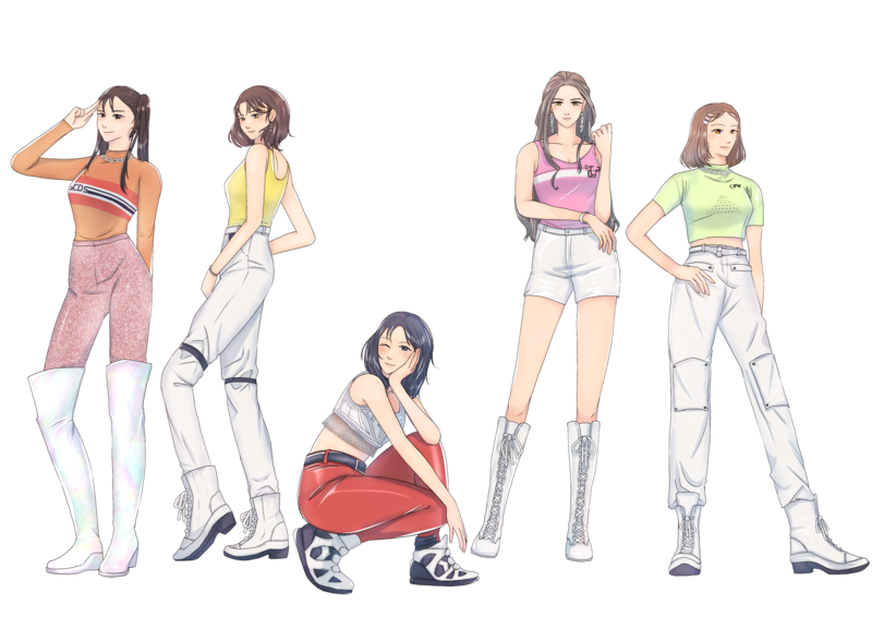 Colored full body anime