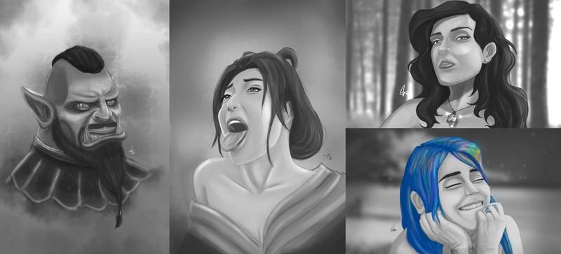 Quick Portrait headshot sketch commissions in B/W
