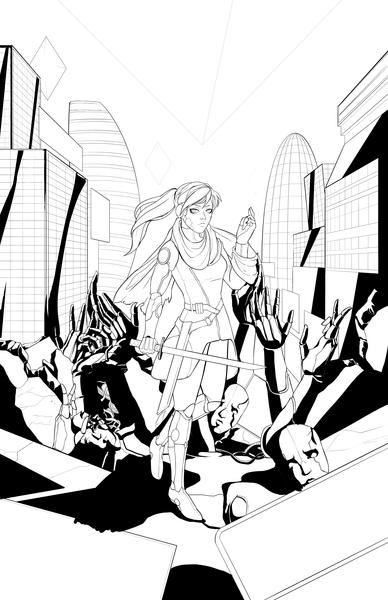 Black and white comic illustration