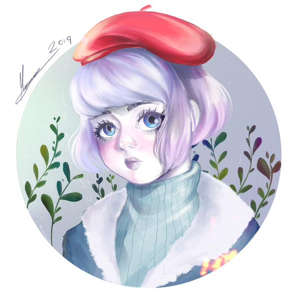 Full colored bust-portrait
