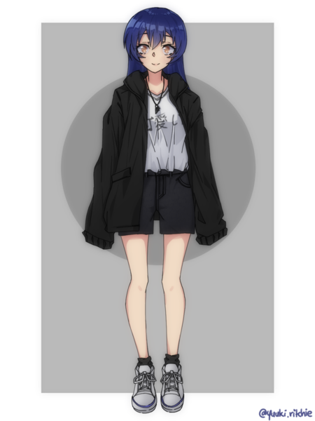 simple colored fullbody anime style