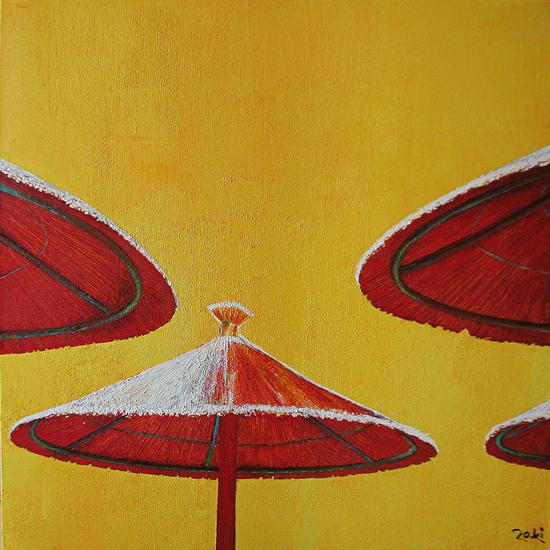 Red Umbrella Ochre sky