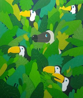 Dodo with birds in jungle