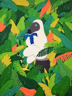 Dodo reading in the jungle