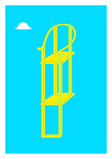 椅子 (Chair) - Blue & Yellow