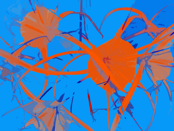 DANCING FLOWERS, (ORANGE - LIGHT BLUE), 120 X 160 CM