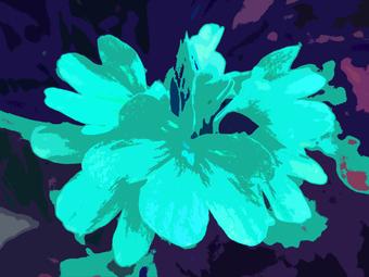 COLORFUL FLOWER, (BLUE), 120 x 160 cm