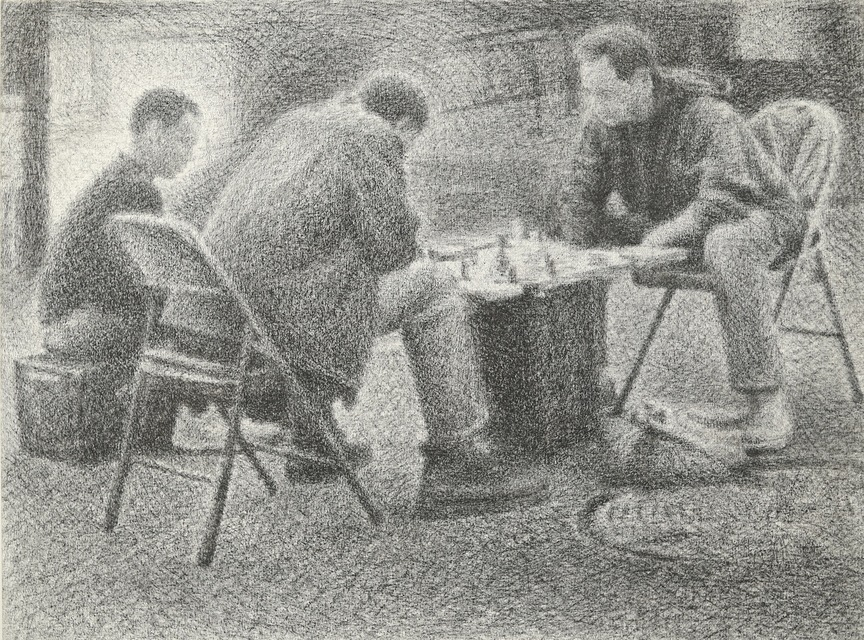 Players, 2017, crayon on canvas, 24 x 32 in.