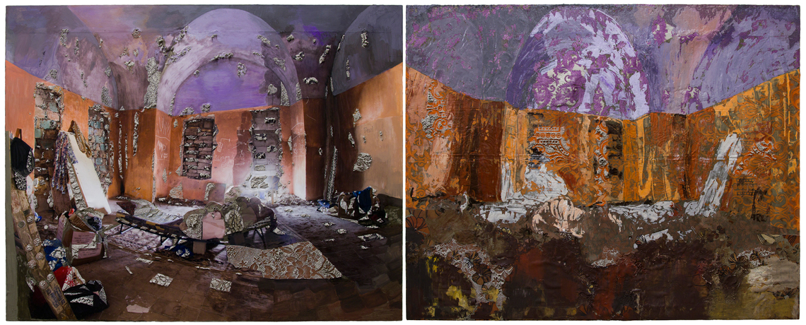 Doubled Arched Reflection in My Memory in Purple and Orange 48 x 120.5 inches, acrylic, gouache, lace, archival ink jet print and cement on canvas and fabric, 2017